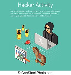 Hacker Activity Concept - Cyber crime and Hacker Activity...