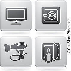 Hotel Related Icons - Various hotel icons: Large Screen LCD,...