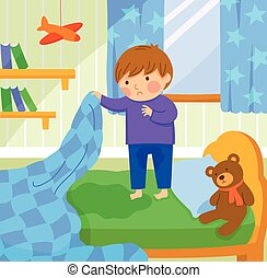 bed wetting - worried boy finds out he wet the bed