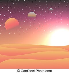 Vector illustration of cosmic spaces. View from the planet on the stars