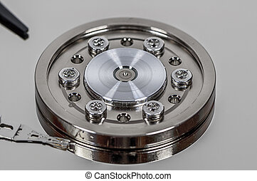 Closeup on hard disk spindle