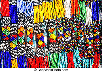 African Tribal Necklaces - African tribal necklaces. Closeup...