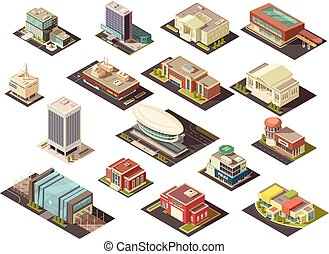 Government Building Isometric Set - Government building...