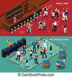Bar Dance Floor 2 Isometric Banners - DJ bar pubs and cafe...