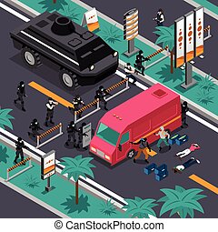 Swat In Action Isometric Composition Poster - Swat unit team...