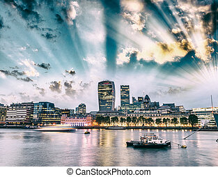 Canary Wharf buildings at sunset - London