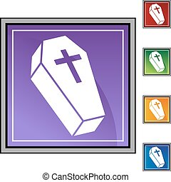 Coffin button isolated on a background.