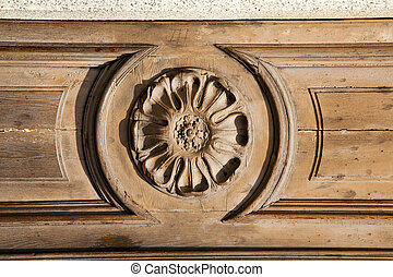 in a door curch closed wood lombardy italy lonate - abstract...