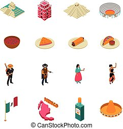 Mexico Touristic Attractions Isometric Icons Collection