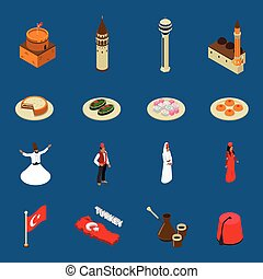 Turkey Touristic Isometric Symbols Icons Collection -...