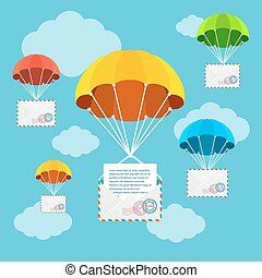 Mail Delivery Parachute in Sky. Vector - Mail or Airmail...