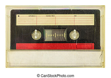 Vintage audio compact cassette isolated on white - Vintage...