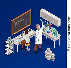 Scientist Isometric Concept Composition - Scientist...