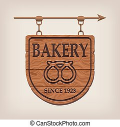 Vintage wooden bakery sign bakery. Vector illustration.
