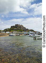 Mount Orgueil castle and harbour, J - Often seen as the...