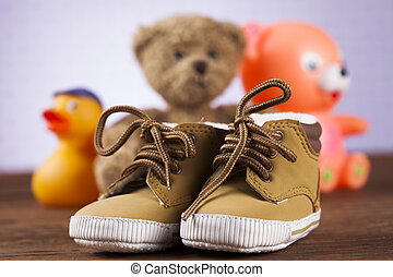 Stuffed baby toys on wooden background - Children's of toy...
