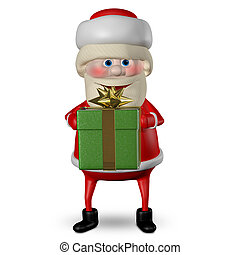 3D Illustration of Santa Claus with Green Gifts