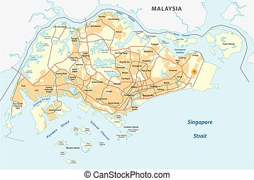 singapore road map - singapore road vector map