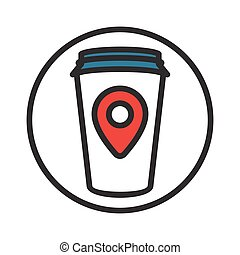 coffe point sign - Illustration of a Coffee Cup with Map...