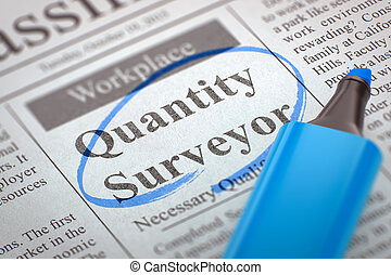 Quantity Surveyor Wanted. 3D. - A Newspaper Column in the...