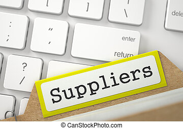 Folder Register with Inscription Suppliers. 3D. - Suppliers....