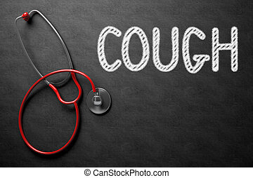 Chalkboard with Cough Concept. 3D Illustration. - Medical...