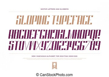 sloping keen - slanted style alphabet letters and numbers...