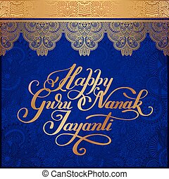 Happy Guru Nanak Jayanti gold brush calligraphy inscription...