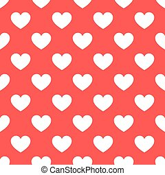 White hearts seamless red pattern
