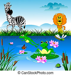 zebra and lion - big lion preys on a zebra, vector and...