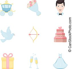 Weeding set icons in cartoon style. Big collection of wedding vector symbol stock illustration
