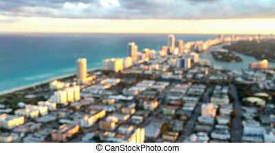 Blurred aerial view of Miami Beach skyline
