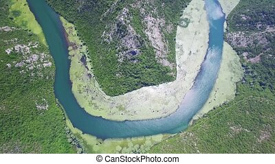 Canyon of river Crnojevica, Montenegro, aerial view. - One...