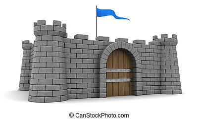 fortress - 3d illustration of fortress with blue flag
