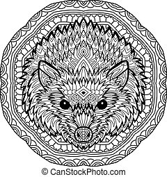 Coloring page for adults. Stern hedgehog on a background of...