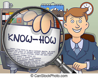 Know-How through Magnifier. Doodle Concept. - Know-How....