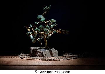 石, 有色人種,  darkbackground, 葉,  malachite, 木, 隔離された, 記念品, 緑
