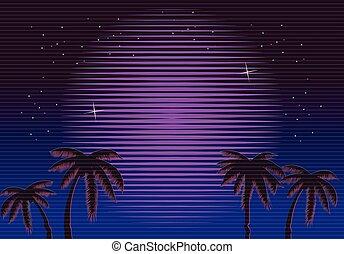 Retro Neon gradient background. Palms and sun. Tv glitch...