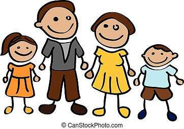 cartoon family - Stickman happy cartoon family vector...