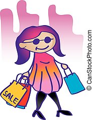 illustration fashion girl shopping - Vector illustration...