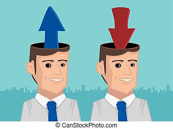 Upload and Download Information into Heads Metaphorical Vector Illustration