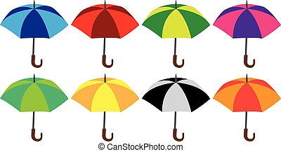 Colorful umbrellas - Vector illustration of a set of...