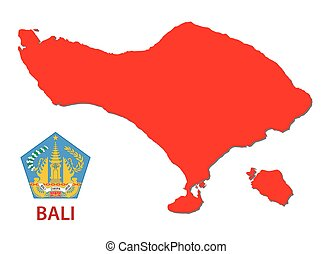 bali map with emblem - bali red map with emblem