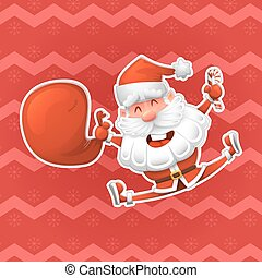 Christmas vector design elements. Jolly Santa Claus is a symbol of the new year. Christmas a sticker in a cartoon style. Excellent choice for your design on clothing and in a variety of ways of advertising.