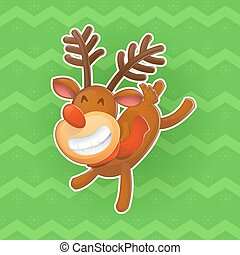 Christmas vector design elements. Jolly deer, the symbol of the new year. Christmas a sticker in a cartoon style. Excellent choice for your design on clothing and in a variety of ways of advertising.