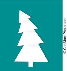 White Christmas tree - White croocked Christmas tree. Vector...