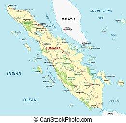 sumatra road map - sumatra road vector map