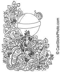 Vector illustration zentangl, a lollipop in the floral...
