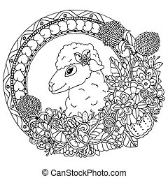 Vector illustration zentangl, sheep in the round frame with...