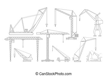Crane and lifting machine. Outline icon set suitable for...